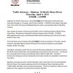 Big Bear Traffic Advisory – Thursday April 9th